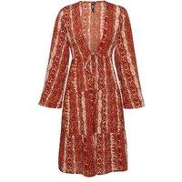Influence-Rust-Animal-Print-Tiered-Kimono-New-Look