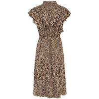 Blue Vanilla Brown Leopard Print Tie Neck Dress New Look