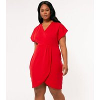 Mela Curves Red Wrap Mini Dress New Look