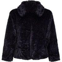 Mela Curves Black Faux Fur Jacket New Look