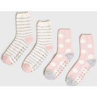 Girls 2 Pack Pink Super Soft Slipper Socks New Look