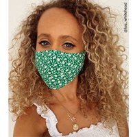 Green Floral Reusable Charity Face Covering New Look
