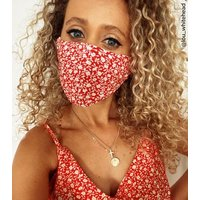 Red Floral Reusable Charity Face Covering New Look