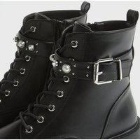 Black Leather-Look Stud Lace Up Ankle Boots New Look Vegan
