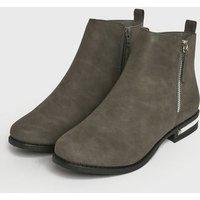 Grey Suedette Metal Trim Boots New Look Vegan