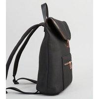 Black Scuba Zip Front Backpack New Look