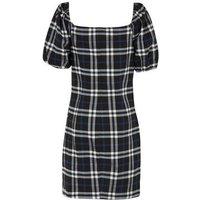 Girls Black Check Short Puff Sleeve Dress New Look