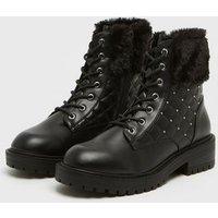 Wide Fit Black Faux Fur Stud Trim Lace Up Boots New Look Vegan