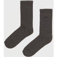 Dark Grey Ribbed NLM Logo Socks New Look