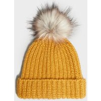 Yellow Ribbed Knit Faux Fur Bobble Hat New Look