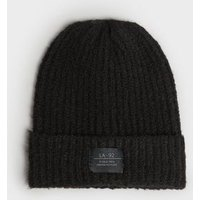 Black Ribbed Tab Front Beanie New Look