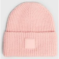 Orange Tab Front Chunky Knit Beanie New Look