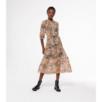 Orange Floral and Spot Chiffon Smock Midi Dress New Look