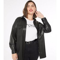 Curves Black Leather-Look Utility Shirt New Look