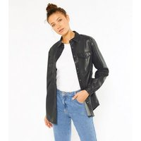 Tall Black Leather-Look Long Sleeve Utility Shirt New Look