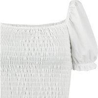 White Shirred Puff Sleeve Top New Look