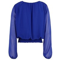 Blue Shirred Hem Button Front Blouse New Look