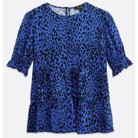 Blue Leopard Print Tiered Puff Sleeve Top New Look