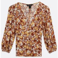Orange Ditsy Floral Button Front Tea Blouse New Look