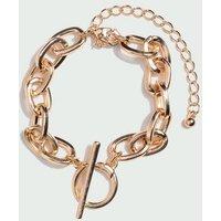 Gold Chunky Chain T-Bar Bracelet New Look