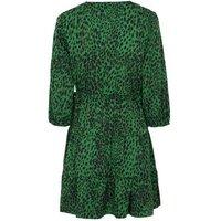 Petite Dark Green Leopard Print Mini Dress New Look