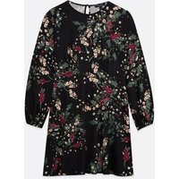 Petite Black Floral Soft Touch Skater Dress New Look