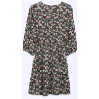 Petite Green Floral Belted Ruffle Wrap Dress New Look