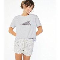 Light Grey Leopard Print Fleece Short Pyjama Set New Look
