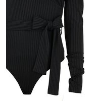 Black Ribbed Puff Sleeve Belted Bodysuit New Look