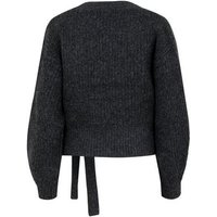 Grey Ribbed Knit Wrap Jumper New Look