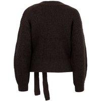 Dark Brown Ribbed Knit Wrap Jumper New Look