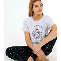 Light Grey Cosmic Dreamer Legging Pyjama Set New Look