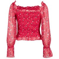 Red Floral Shirred Square Neck Blouse New Look