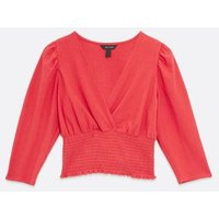 Red Shirred Waist Wrap Top New Look