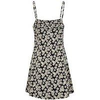 Black Daisy Print Strappy Slip Dress New Look