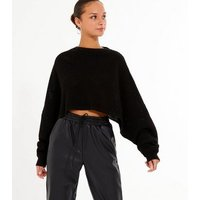 Cameo Rose Black Oversized Knit Jumper New Look