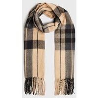 Camel Check Tassel Trim Scarf New Look