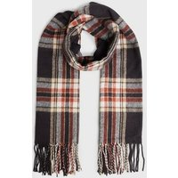 Navy Check Brushed Scarf New Look