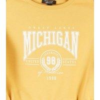 Girls Yellow Toggle Hem Michigan Slogan Sweatshirt New Look