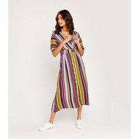 Apricot Multicoloured Stripe Button Midi Dress New Look