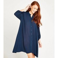 Apricot Navy Crinkle Shirt Dress New Look