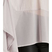 Apricot Grey Chiffon Hanky Hem Top New Look