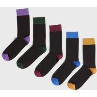 5 Pack Black Colour Block Socks New Look