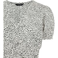 White Spot Print Shirred Wrap Top New Look