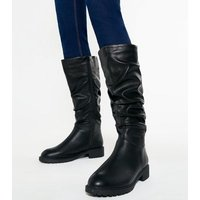 Wide Fit Black Slouch Knee High Boots New Look Vegan