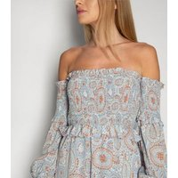 Gini London Blue Floral Circle Shirred Bardot Dress New Look