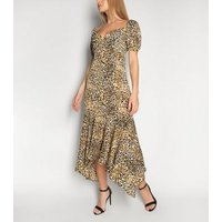 Gini London Black Leopard Print Hanky Hem Dress New Look