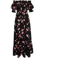 Gini London Black Floral Print Bardot Maxi Dress New Look