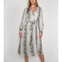Gini London Light Grey Snake Print Wrap Dress New Look