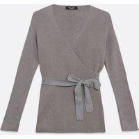Maternity Dark Grey Ribbed Knit Wrap Top New Look